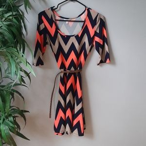 Chevron fit and flare dress